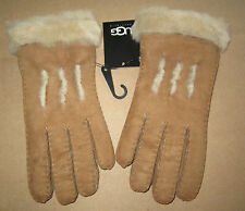 UGG Gloves Sheepskin Exposed Shearling Chestnut Small NEW