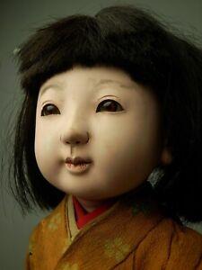 JAPANESE ANTIQUE ICHIMATSU NINGYO GIRL DOLL GOFUN OYSTER PASTE FACE STAND KIMONO