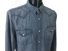 Vintage Sears Roebuck Western Wear Denim Pearl Snap Shirt XL Extra Large