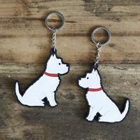 WESTIE Keyring, Novelty Gift, PVC West Highland Dog Key Ring, Bag Charm, FREEP&P