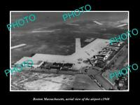OLD 8x6 HISTORIC PHOTO OF BOSTON MASSACHUSETTS AERIAL VIEW OF AIRPORT c1940