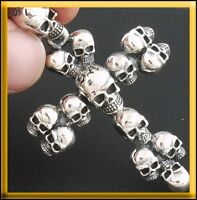 12.5g MULTI SKULL GOTHIC CROSS CRUCIFIX 925 STERLING SOLID SILVER PENDANT CHARM