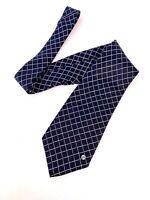 Gianni Versace Classic V2 Silk Handmade NeckTie Geometric Square Dark Blue #5443