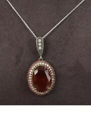 Antique Vintage Sterling Silver Ruby and Topaz  Pendent with Silver Chain.