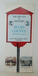 Vintage HIGHWAYS OF HISTORY BUCKS COUNTY PENNSYLVANIA Travel Brochure MX46