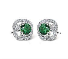 Women 18k White Gold GP Green Crystal Flower Earrings Studs Dangle Drop Earrings