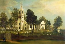 Oil painting Bridgewood, J.C. Great building St. John's Church in the landscape