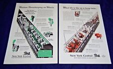 1943 WWII Ad Lot of 2 ~ NEW YORK CENTRAL RR Railroad ~ Troop Train, Housekeeping