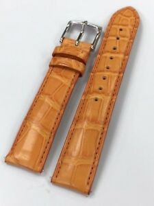 NEW Authentic MICHELE 18 mm Orange Alligator Strap Band  with SS Tang Buckle