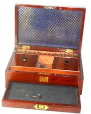 MAHOGANY BOX, FIT COMPARTMENTS,DRAWER & KEY,sewing or Tea ANTIQUE  c1800