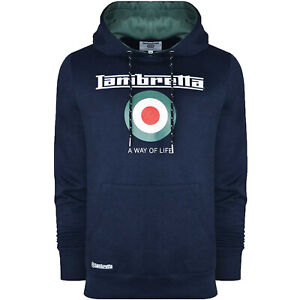 Lambretta Mens Target Retro Pullover Sweater Hoody Sweatshirt Hoodie Navy/Spruce