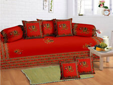 100% Cotton Elephant Red Diwan Set Diwan Cover Cushion Covers Bolster Covers