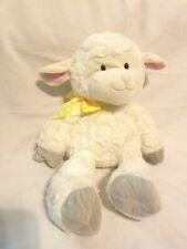 "Animal Adventure Lamb Yellow Polka Dot Bow Plush Stuffed Animal Ivory White 18"""