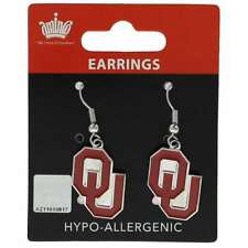 Oklahoma Sooners Red Clear Austrian Crystal Heart Logo Charms Hoop Earrings OU