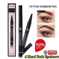 HANDAIYAN Eyebrow Tattoo Pencils Black Brown Color Waterproof 4 Head Fork Liquid