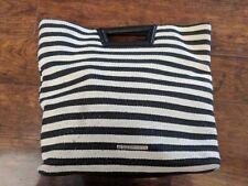 BCBG BCBGeneration Travel Tote Black White Striped Natural Combo Handbag