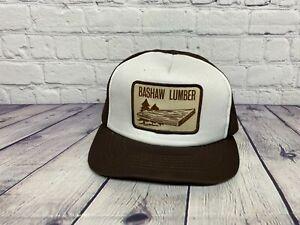 Broken Snaps Vintage Trucker Hat Mesh Cap Bashaw Lumber Patch Logo Brown