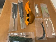 Material Lot Oragne Calf tails, duck quills, turkey quills, biots, peacock herl