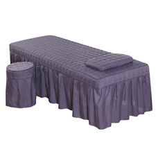 "Massage Table Skirt Sheet Pillowcase Stool Cover Beauty Linen 73x28"" Purple"