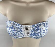 H&M Women's 6 Light Blue & White Floral Bandeau Bikini Top