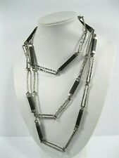 "Sterling Silver .925 Linked Ebony Wood 54"" long Necklace"