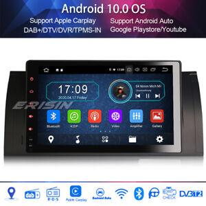 "9"" dab + radio android 10.0 wifi bluetooth carplay bmw 5 series e39 x5 e53 m5"