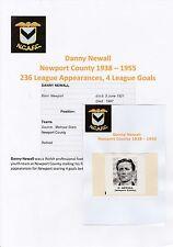 DANNY NEWALL NEWPORT COUNTY 1938-1955 RARE ORIGINAL HAND SIGNED MAGAZINE CUTTING