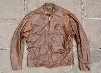 Vtg 70s I FOSTER & SON Light Brown Leather Cafe Racer Motorcycle Jacket Biker 42