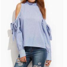 Women Ladies Stand Neck Striped Long Sleeve Blouse off Shoulder Tops T Shirts AU Regular XL