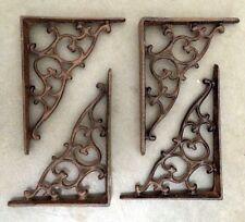 Set Of 4 Ornamental Shelf Bracket Brace Vintage Rustic Antique Brown Cast Iron
