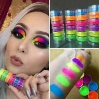 AU_ 6 Colors Lasting Glitter Nail Art Neon Powder Eyeshadow Pigment Manicure Cha