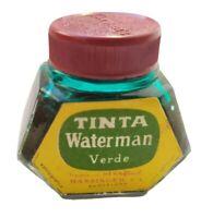 ANTIGUO BOTE DE TINTA WATERMAN PARA PLUMA COLOR VERDE   41x45x32mm