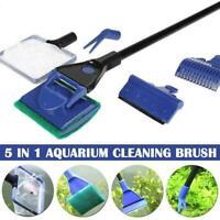 5x Aquarium Cleaning Tools Fish Tank Gravel Rake Fish Brush Cleaner Set Net