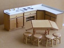 1:12 Scale 9 Piece White & Pine Kitchen Set Dolls House Miniature Accessory 820