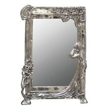 Ornate Art Nouveau Antiqued Silver Hallway Bedroom Dressing Table Wall Mirror
