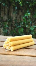 Handmade Pure Rolled Beeswax Candles: Pair of 20x2 cm dinner / taper candles