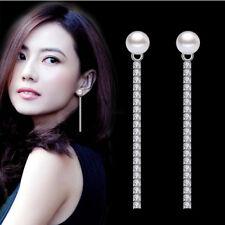Chic Jewelry Gift 925 Sterling Silver Shambhala Pearl Long Drop Dangle Earrings