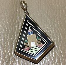 925 silver ? jet micromosaic semi precious stone lapis malachite church pendant
