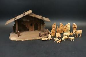 16tlg Krippe Krippenfiguren Krippenhaus Holz geschnitzt (DM846)