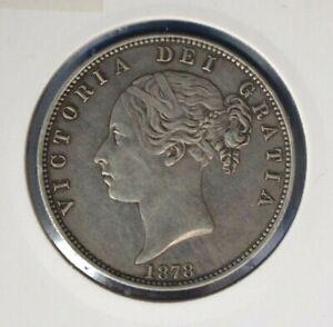 1878 Queen Victoria Silver Halfcrown coin - High Grade