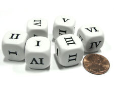 Set of 6 Roman Numerals I-VI (1-6) 16mm Six-Sided Dice- White with Black Numbers