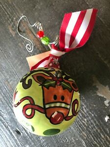 GLORY HAUS. Laura Kirkland,  Reindeer ball  Ceramic Christmas Ornament NIB,