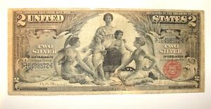 1896 $2 DOLLAR SILVER CERTIFICATE ROBERTS / BRUCE EDUCATION NOTE FR#248