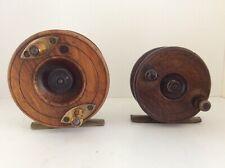 2 Small Wood And Brass Centrepin Reels.