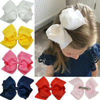 JN_ Girls Large Double Layers Hairbow Baby Hair Bows Grosgrain Ribbon Clips No