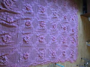 Authentic Handmade Crochet Queen size pink flower Blanket