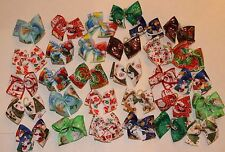30 Small Christmas Dog Bows Dog Grooming Bows Handmade USA top Quality Yorkie