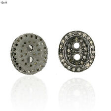 Spacer Finding Handmade Jewelry 4 pcs Diamond 925 Sterling Silver Button Look
