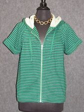 FRENCH CONNECTION Green Blue Striped Zip Hoodie Sweatshirt SZ M