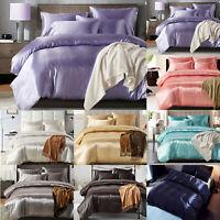 3PCS Quilt Duvet Covers Soft Luxury Satin Silk Bedding Set Single Double King